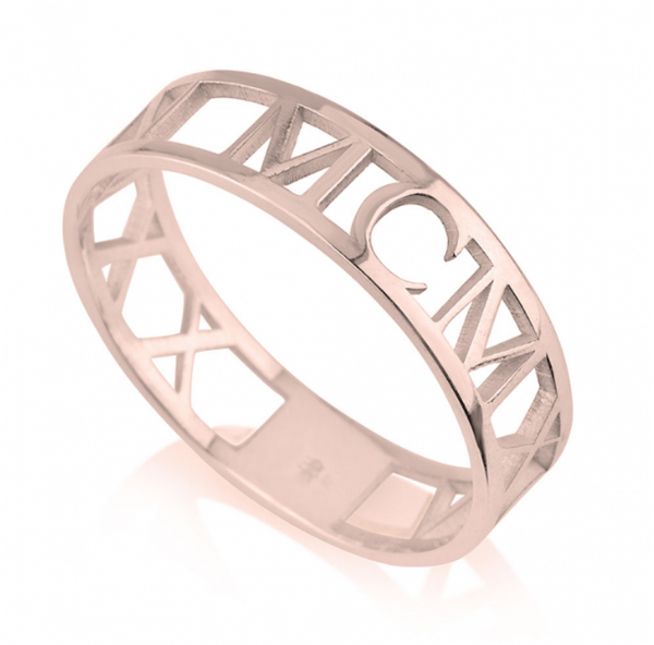 Custom Date Roman Numeral Rose Gold Plated Sterling Silver Ring