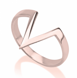 Chevron Victory V-Shape Rose Gold Ring