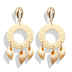 Seaside | Wicker & Genuine Shell Hoop Earrings