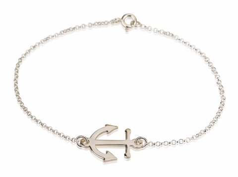 Sterling Silver Plated Nautical Jewelry Anchor Rolo Chain Bracelet