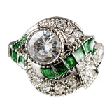 Soiree Vintage Emerald Art Deco Costume Ring