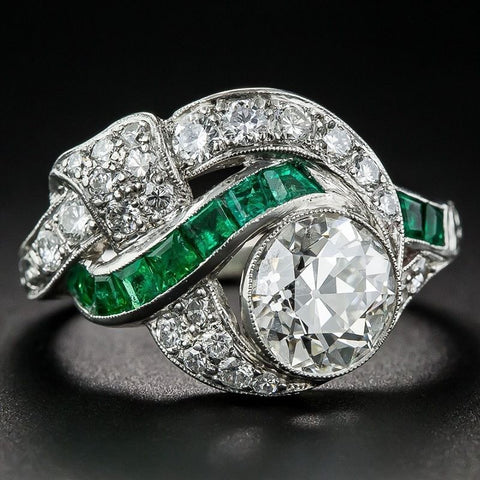 Soiree | Vintage Emerald Art Deco Ring