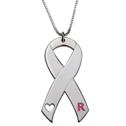 Sterling Silver Breast Cancer Awareness Pink Ribbon Personalized Initial Pendant Necklace