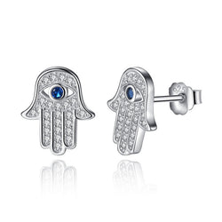Sterling Silver & Cubic Zirconia Hamsa Earrings