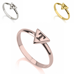 Personalized Monogram Sterling Silver 24k Gold Rose Gold Triangle Initial Letter Midi Ring
