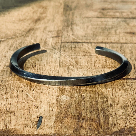 Twisted Metal Distressed Steel Bar Open Back Cuff Bracelet