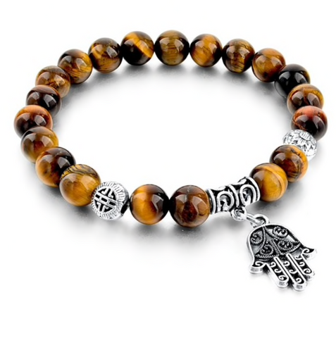 Hand of Fatima Tiger Eye Stone Beaded Bracelet