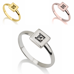 Personalized Monogram Sterling Silver 24k Gold Rose Gold Square Initial Letter Midi Ring