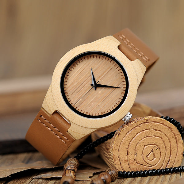 Weekend Natural Wood Casual Watch With Leather Band