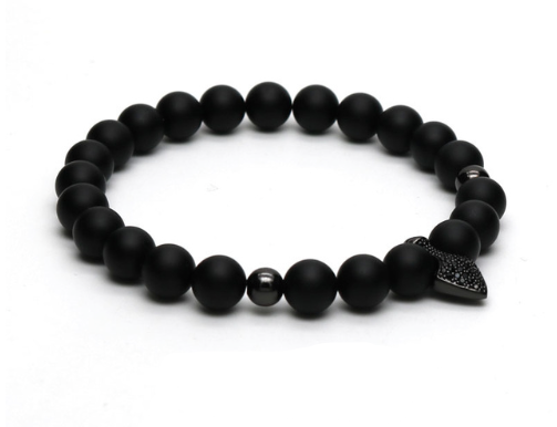 Roman Spearhead Charm Pave Bead Matte Black Stretch Bracelet