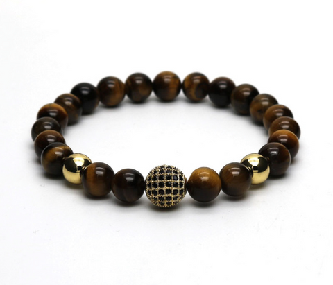 Tigre | Disco Brown Beaded Stretch Bracelet