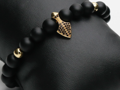 Spearhead | Pave Charm Beaded Stretch Bracelet