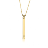 Personalized Name 24k Gold Plated Vertical Skinny Bar Pendant Necklace