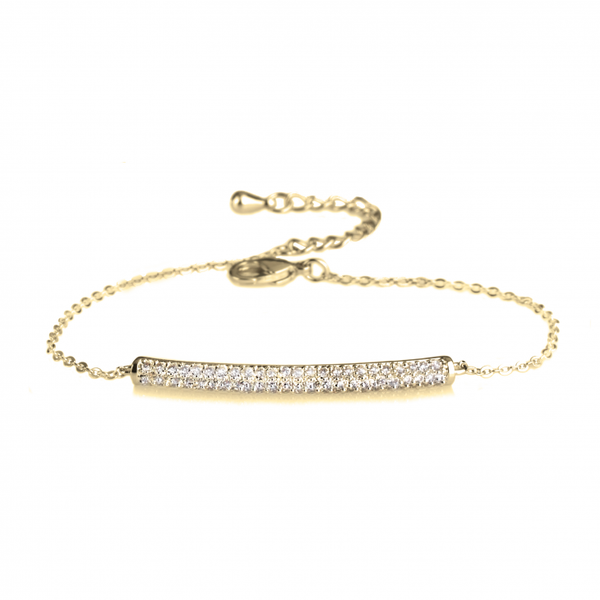Cubic Zirconia Bar Slim 24k Gold Rolo Chain Bracelet