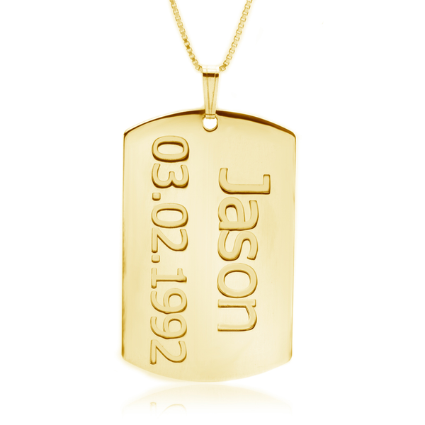 Personalized 24k Gold Plated Name & Date Dog Tag Pendant Necklace