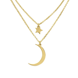 Moon & Stars 24k Gold Plated Layered Charm Necklace Set