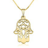 Hamsa Hand of Fatima 14k Gold Filigree Pendant Necklace