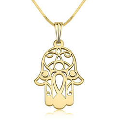 Hamsa Hand of Fatima 24k Gold Filigree Pendant Necklace