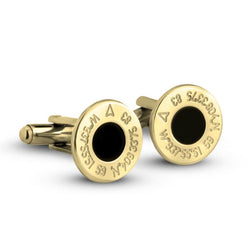 Personalized 24k Gold Plated Round Coordinates Cufflinks
