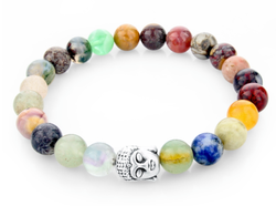 Multicolor natural stone Silver Buddha rainbow beaded stretch bracelet