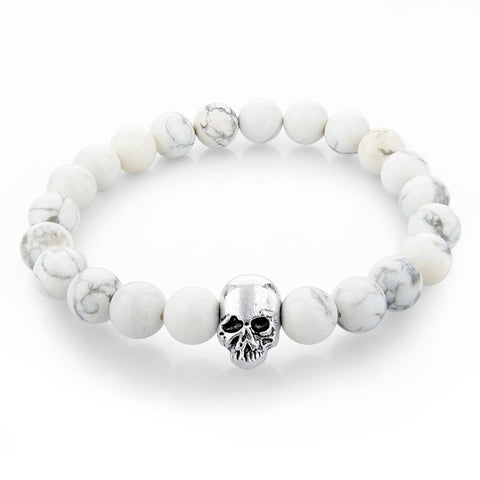 Skull King | White Marble Stone Stretch Bracelet