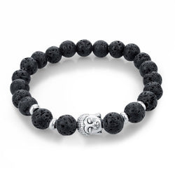 Midnight Buddha Black Lava Stone Stretch Charm Bracelet