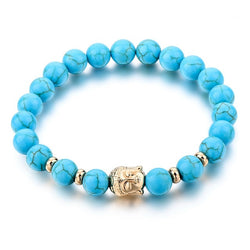Buddhist Charm | Turquoise Beaded Stone Stretch Bracelet