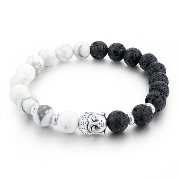black and white lava stone silver moon phase jewelry buddha beaded bracelet