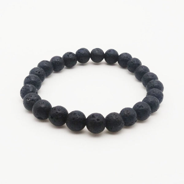 basic black lava stone beaded bracelet