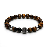Pave Silver Disco Ball Orb Charm With Brown Tiger Eye Stone Bead Stretch Bracelet
