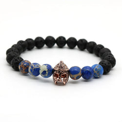 Gladiator Rose Gold Helmet Lava Stone Stretch Bracelet