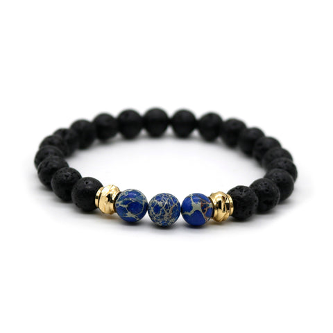 Blue Ocean Lava Stone Beaded Unisex Stretch Bracelet with Gold