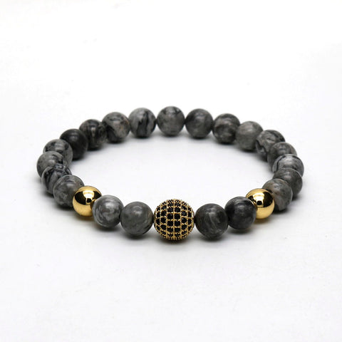 Atlas | Grey Disco Stone Stretch Bracelet