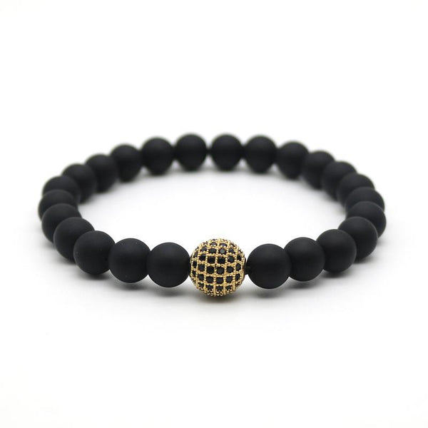 gold micro pave ball beaded bracelet
