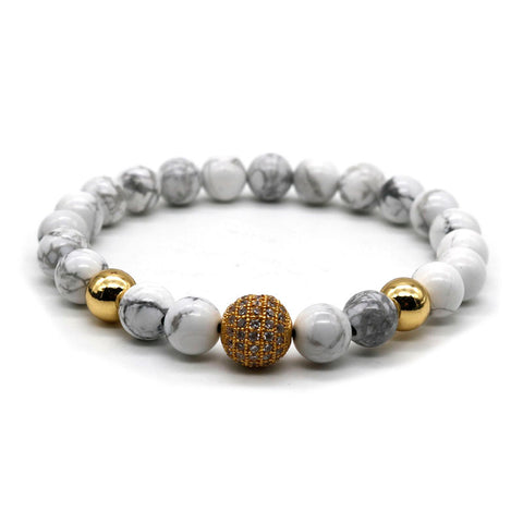 Pave Sphere Gold and Marble Bead Stretch Bracelet