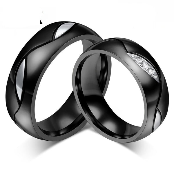 Imperium | Matte Black Stainless Steel His & Hers Wedding Band Set
