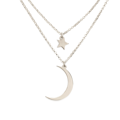 Moon & Stars .925 Sterling Silver Layered Charm Necklace
