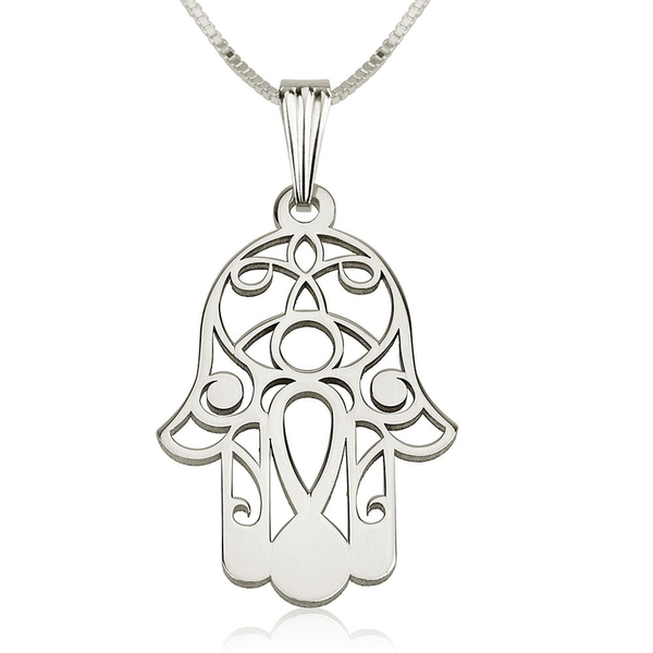 Hamsa Hand of Fatima 14k White Gold Filigree Pendant Necklace