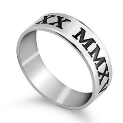Roman Numeral Sterling Silver Engraved Date Classic Wedding Band