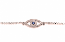 Rose Gold Plated Evil Eye Birthstone Chain Bracelet