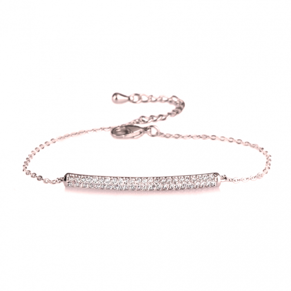 Cubic Zirconia Bar Slim Rose Gold Rolo Chain Bracelet