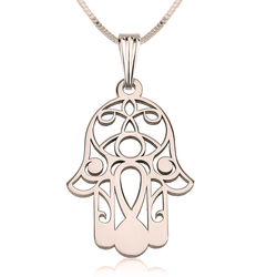 Hamsa Hand of Fatima Rose Gold Filigree Pendant Necklace