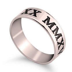 Roman Numeral Rose Gold Engraved Date Wedding Band