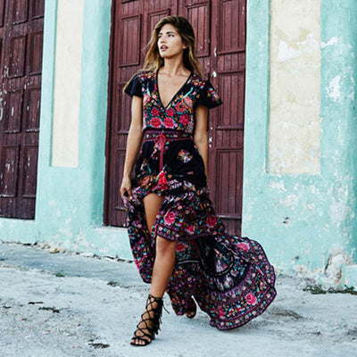NEW Sexy Summer Print Floral Retro Palace Evening Party Dress