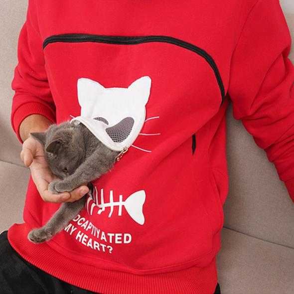 Cat Lovers Hoodie Cuddle Pouch ( Who Captivated My Heart?