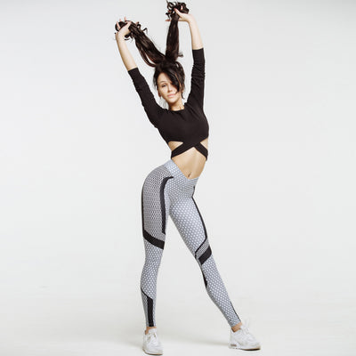High Waist Honeycomb Fitness Push Up Leggings