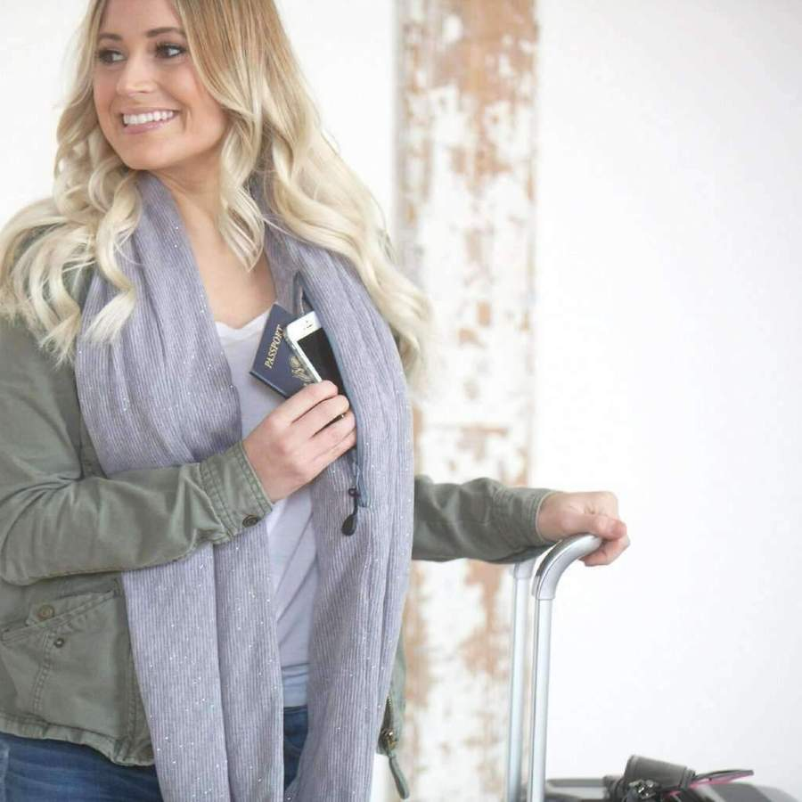 Pocket Scarf,Scarf With Zip Pocket,Convertible Infinity Scarf with Pocket Loop Scarf