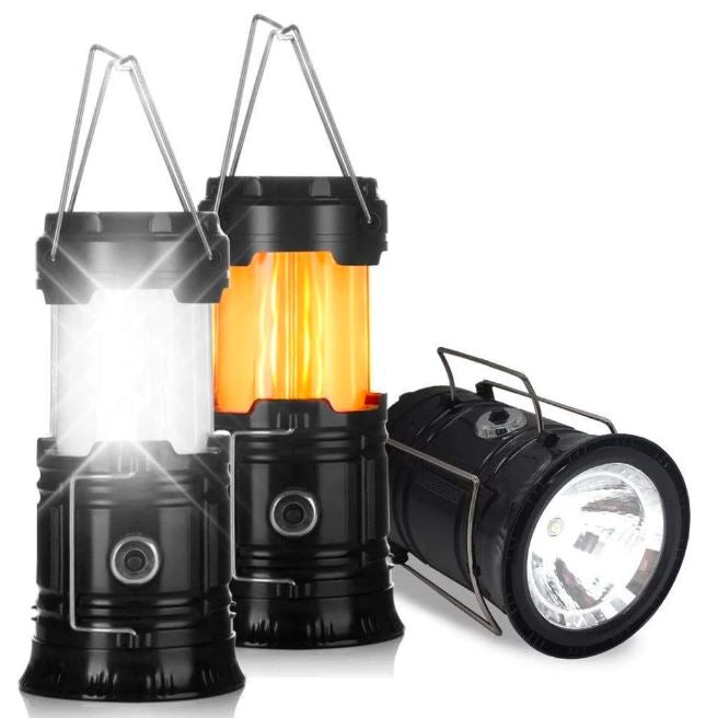 3-IN-1 Camping LED Flame Lantern Flashlights