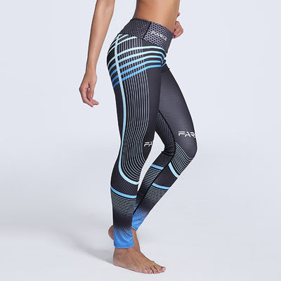Gradient Blue Stripes Elastic Fitness Leggings