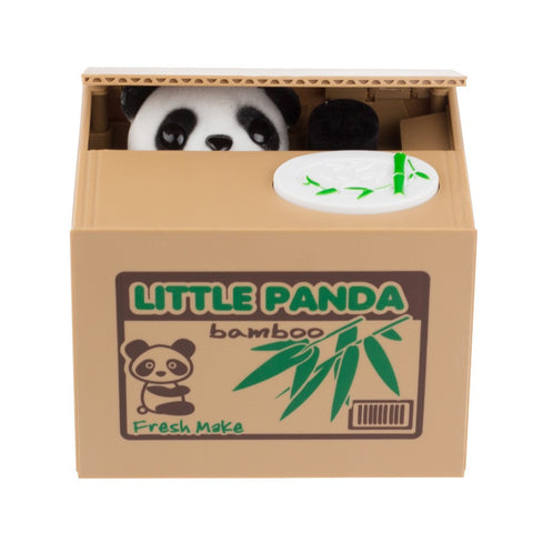 Cute Panda Stealing Coin Bank